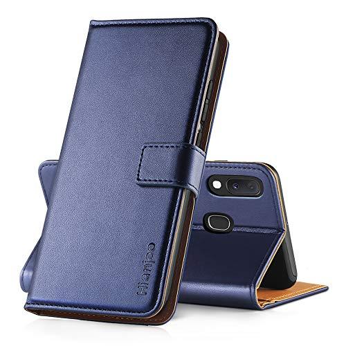 Hianjoo Hülle Kompatibel für Samsung Galaxy A20e, Handyhülle Tasche Premium Leder Flip Wallet Hülle Kompatibel für Samsung Galaxy A20e [Standfunktion/Kartenfächern/Magnetic Closure Snap], Blau