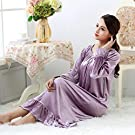 YHWW Summer Pajamas,Long Velour Princess Nightgowns Sleepwear Dress Women Night Gown Plus Size Spring Autumn New Velvet Womens Sleepwear Night wear,Purple,M