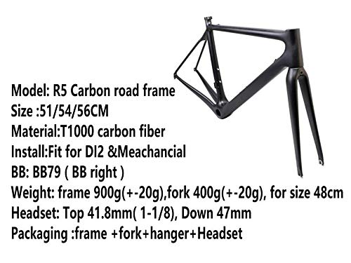 Voll Carbon Rahmen Rennrad Radsport Fahrradrahme 51/54 cm Matt (54 cm)