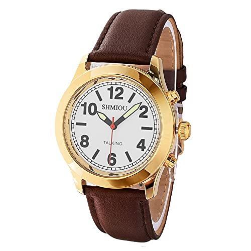 Reloj parlante dorado banda de piel marrón francés unisex para ancianos ciegos...