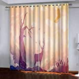 Cortinas Salón Modernas Opacas para Ventanas de Resistente a la Luz Tela Suave y Gruesa con Ojales - Cervatillo púrpura Abstracto 210x210 cm (Ancho x Alto)