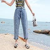 YSDSBM Jeans Mujer Primavera Versión Cintura Alta Moda para Mujer Chic Bolsillo Cremallera Recta Solo botón