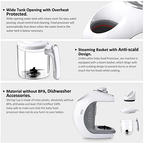 Babynahrungszubereiter KYG BFP-1800MT 5 in 1 Dampfgarer und Mixer für Babynahrung mit Dampfgaren Mixen Erwärmen Auftauen und Sterilisieren 220-240 V Baby Küchenmaschine (weiß) - 3