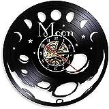 TZMR Reloj de Pared con Disco de Vinilo Reloj de Pared silencioso con Fase de Luna, Reloj de Pared de Cuarzo silencioso con Espacio de Luna, decoración del hogar
