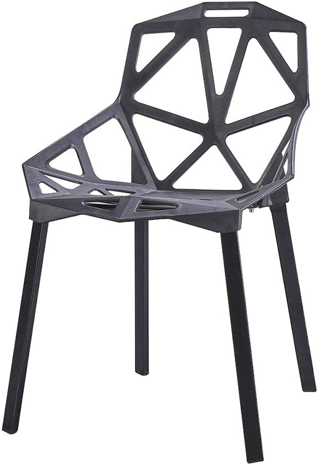 LYXPUZI Chair Lazy Nordic Chair Geometry Hollow Plastic Back Personality Art Fashion (color   Black)