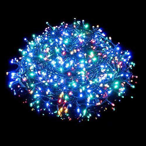 Nataland Catena Luminosa 1000 Led - 55 Metri Da Interno Ed Esterno, Serie Con Controller 8 Funzioni, Per Illuminazione Casa, Vetrine, Negozio e Albero di Natale (Multicolor, 1000 Led - 55 Metri)