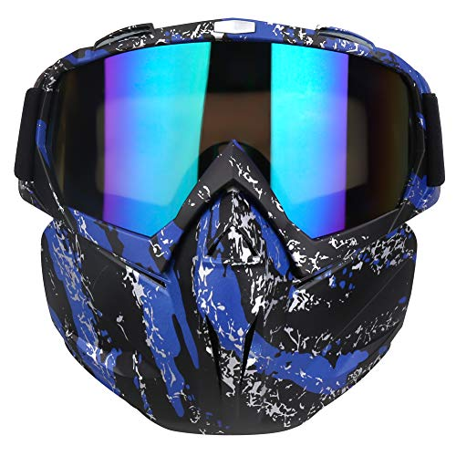 PiscatorZone Motorcycle Goggles Mask, Tactical Glasses with Detachable Mask Adjustable Windproof Outdoor Paintball Airsoft Mask Face Shield for Kids Men Women