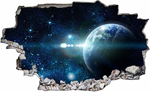 DesFoli Weltraum Erde Space Weltall Galaxy Planeten 3D Look Wandtattoo 70 x 115 cm Wand Durchbruch Wandbild Sticker Aufkleber C225