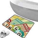 Rutschfester Badezimmerteppich Jahrgang Soft Skidproof Bath Mat Safe Bereich Bingo-Spiel mit Ball und Karten Pop Art stilisierte Lotterie Hobby Celebration Theme,Multicolor, Fußmatte Schlafzimmer Wohn