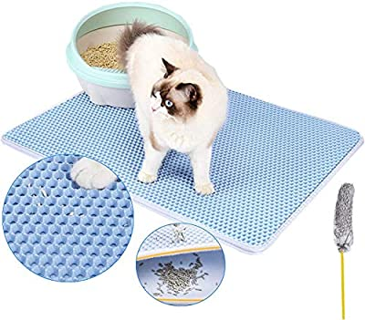 DX doxie's Premium Cat Litter Mat, Litter Tray, Litter Box Mat Scatter Control, Double Layer Honeycomb Design, Waterproof, Easy Clean Washable EVA Material Medium Size 50 x 40 cm (BLUE)