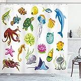 ABAKUHAUS Marine Duschvorhang, Meerestier-Kraken-Fisch, mit 12 Ringe Set Wasserdicht Stielvoll Modern Farbfest & Schimmel Resistent, 175x200 cm, Mehrfarbig