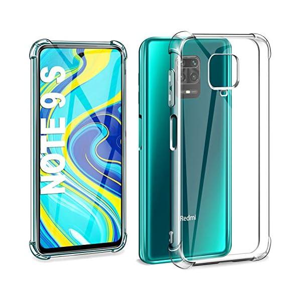 Suave Silicona Transparente TPU Carcasa de movil con Colgante//Cadena Anti-rasgu/ños Anti-Choque Funda con Cuerda para Xiaomi Redmi Note 9S // Redmi Note 9 Pro, Moda y Practico