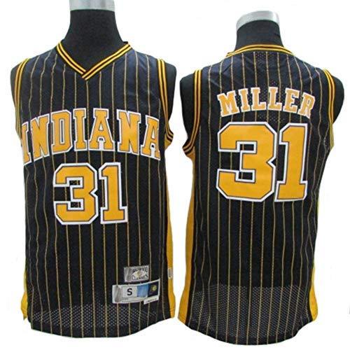YSA Maglia da Basket NBA Indiana Pacers # 31 Reggie Miller, Tessuto Traspirante Fresco Nuove Maglie retrò Ricamate, Unisex Uniforme da Tifoso da Basket, Nero, XL: 185 cm / 85~95 kg