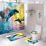 YRWDNV 3D Duschvorhang gesetzt Grüngelber DelfinseeWasserdicht Schimmel Resistent Badezimmer Gardinen Badezimmer Set Teppich Duschvorhang Gesetzt Toilettenmatte 180 x 200 cm