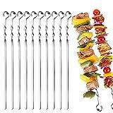 Shengruili 12 Stück Grillspieße Edelstahl,30cm Schaschlikspieße,wiederverwendbar Metallspieße,BBQ Grillspieße,Spieße zum Grillen