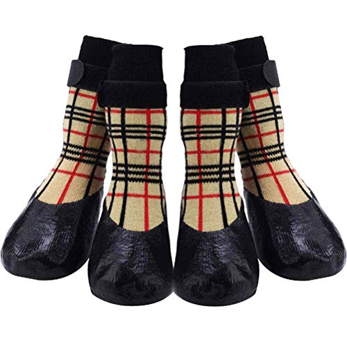 CHOLEGIFT Anti-Slip Plaid Dog Socks Shoes with Straps for Traction Control, Waterproof Pet Paw Shoes Boots Protector for Indoor Outdoor Wear for Dogs