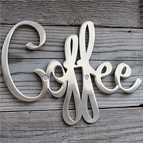 Way Of Hearts - Metal Coffee Sign for Wall Decor - Hand Polished Stainless Steel - Silver 9.45' X 6.9' with Installation Kit. 100% Rustproof, no need for painting