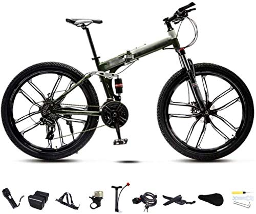 TTZY 24-26 Pulgadas MTB Bicicletas, Unisex Plegable de cercanías Bicicletas, 30 Velocidad Engranajes Plegable for Bicicleta, Doble Disco de Freno/C de la Rueda/Verde / 24
