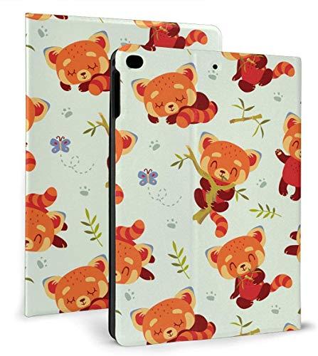 Carcasa Inteligente de Cuero PU de Panda Rojo Estilo Kawaii de Dibujos Animados Función de Reposo / activación automática para iPad Mini 4/5 7,9 'y iPad Air 1/2 9,7'