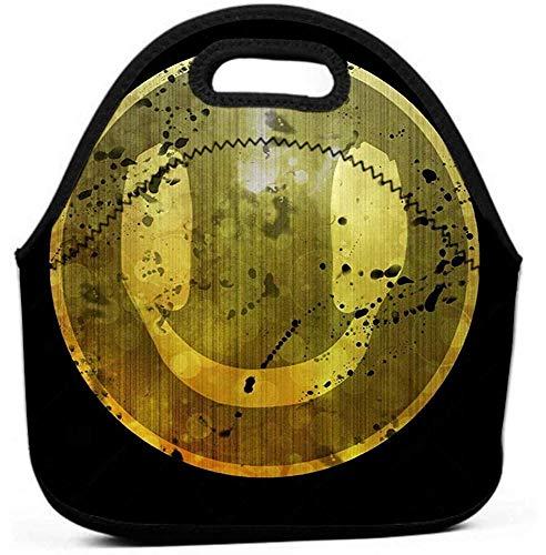 Lunch Bag für Frauen, Männer und Kinder - Wiederverwendbare Lunch Tote für Arbeit und Schule Smiley-Kopfhörer Musikdesign Smiley-Kopfhörer cool lustig Musikdesign kann gerade sein