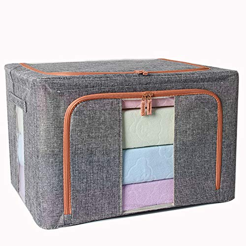 Caja de Almacenamiento con Tapa, 600D Impermeable Oxford Cloth Armario Caja de Almacenamiento Canasta de Almacenamiento Plegable Contenedor 66L para Toallas Libros Juguetes Ropa etc