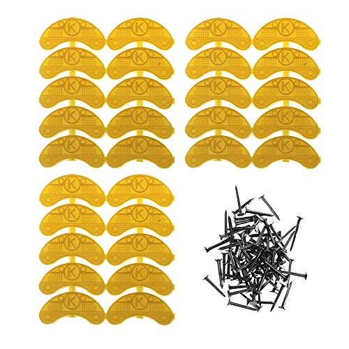 Heel Plates 30 PCS Rubber Shoes Heel Ttaps Tips Repair Pad Replacement Medium Size with Nails (Yellow)