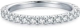 3mm Rhodium Plated Sterling Silver Simulated Diamond Cubic Zirconia CZ Half Eternity Wedding Ring