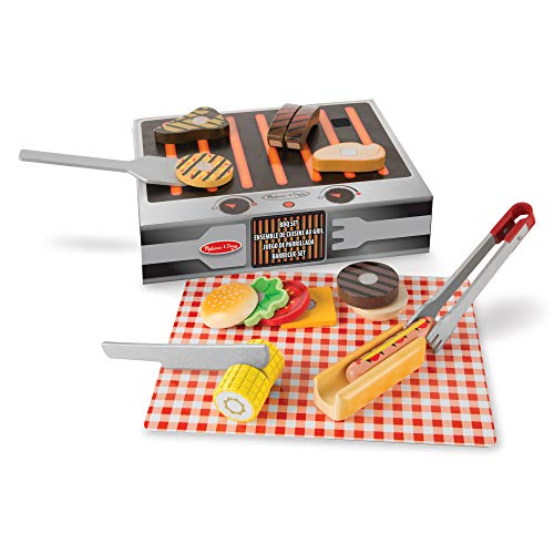 Melissa & Doug- Grill and Serve BBQ Set Comida de Juguete de Madera, Multicolor (19280)