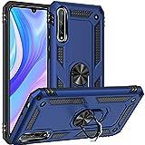 Fetrim Hülle Kompatibel für Huawei Y8P, stoßfest Schutzhülle mit Drehring Ständer für Huawei Y8P/P SMART S Navy blau