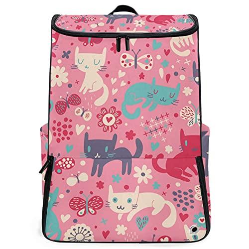 YUDILINSA Viaje Mochila,Gatos divertidos Dibujos animados de patrones sin fisuras Niños,Universitaria Mochila,Laptop Backpack con Compartimento para zapatos