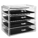 Recet Caja organizadora de cosméticos y maquillaje, acrílico, con cajones, 23,5 x 13 x 19,5 cm, 4 niveles, 4 cajones, tamaño (A)