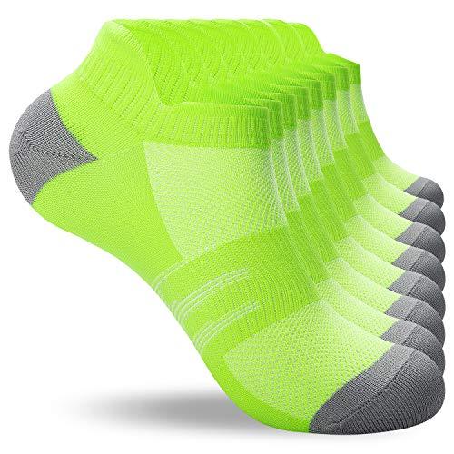 coskefy Sneaker Socken Herren 43-46 39-42 35-38 47-50 8 Paar Laufsocken Damen aus Baumwolle Atmungsaktiv Sportsocken Weich Knöchelsocken (Grün, 39-42)