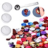 235 Sealing Wax Beads with 3 Pieces Tea Candles and 1 Piece Wax Melting Spoon for Craft Adhesive Waxing (Mix...