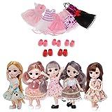 lahomia 5 Piezas 12 Articulaciones BJD Doll Fashion & 5 Dress Suit Girls Gift DIY