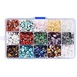 Piedras Preciosas de Forma de Nugget Natural Irregular, Padwa Lifestyle 15 Color Piedras cuentas sueltas trituradas de cristal para hacer pulseras, collares