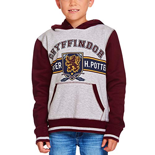 HARRY POTTER Sudadera con Capucha para niños Gryffindor Crest Hooded Grey Red - 116