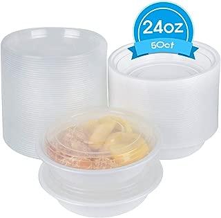 Disposable Plastic Soup Bowl, Compostable plate bowl - 50 count. (24 oz with lids)