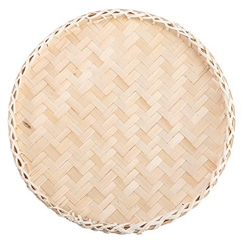 YARNOW Cesta de Mimbre Cesta de Pan Bandeja de Bambú Cesta de Almacenamiento para Frutas Cesta para Servir Dulces Y Pan Centro de Mesa Vintage Rústico
