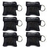 Lifesport Beatmungsmaske, 6 Stücke CPR Maske Schlüsselbund Ring Rescue Face Shields Emergency Kit Bea (Schwarz)