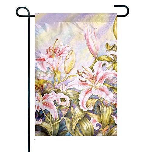 N / A Gartenflagge, doppelseitiger Garten Oriental Lilies Outdoor Yard Flags für Outdoor-Dekor