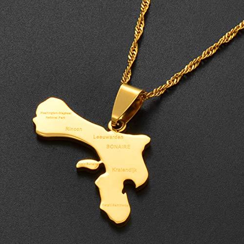 Karte Von Bonaire Und Dorf Anhänger Halsketten - Charme Afrikanischen Karten Flagge Dünne Kette Halsketten, Gold Farbe Hip Hop Karte Ethnischen Schmuck Für Frauen Männer Party Geschenk, Gold, 45Cm