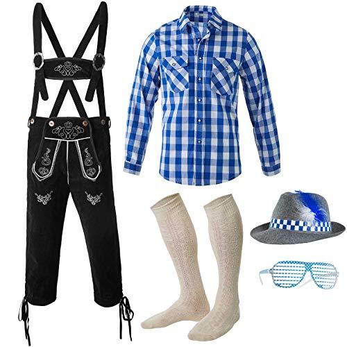 dressforfun 950005 Herren Trachten Set 5-teilig, Kniebund Lederhose schwarz, Langarm Hemd blau weiß kariert, Socken, Brille + Hut - Diverse Größen - (Hose XL   Hemd XL   Nr. 350073)
