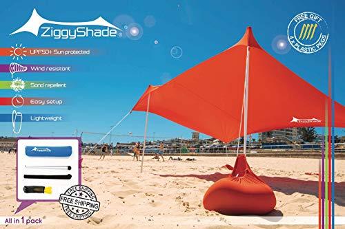 ZiggyShade – Beach Tent – Sun Shade – with Sandbag Anchors – UPF50+ (Jasmine Green, Standard)