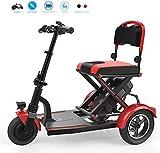 DBXOKK Mini Triciclo eléctrico Plegable Silla de Ruedas eléctrica Personas Mayores con discapacidad hogar sin escobillas Motor Scooter batería de Litio Iluminado, Rojo