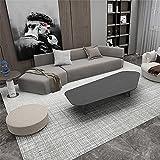 Kunsen Alfombra Comedor Patrón de celosía Beige Gris diseño Simple Alfombra Salon Pelo Corto alfombras 100X160cm
