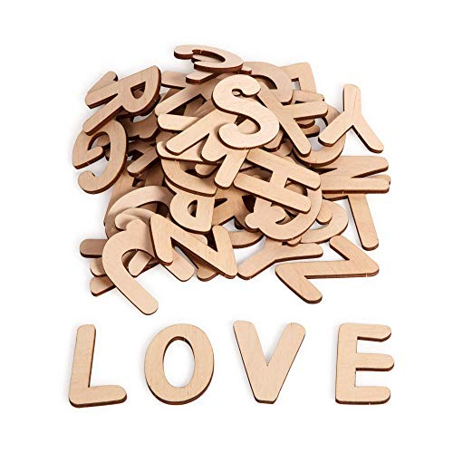 uVeans 52 Pieces Wooden Craft Letters - Natural Wood Alphabet Capital Letters - Cutout Wooden Letters for Home Decor and Kids Learning - Paintable Letters, Come with Double-Sided Tape