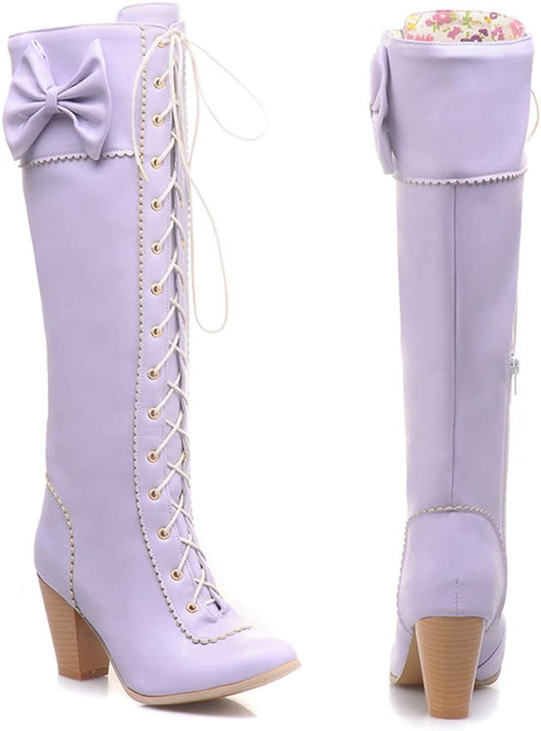 HILIB Women's Lace-Up Strappy Knee High Bowtie Elegants Boots Combat Stacked Heel Boot