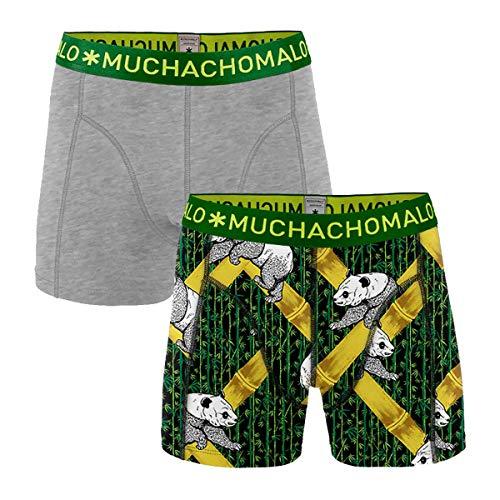 Muchachomalo boxershort voor heren, pak van 2 - pants in dubbelpak, Panda, grijs/groen