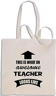 This is What an Awesome Teacher Looks Like - Mango largo bolso de compras de algodón