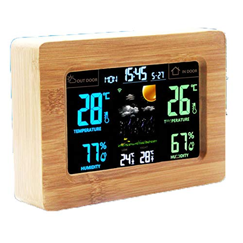 LICHUXIN Innentemperatur Wetterstation und Luftfeuchtigkeit Holzalarmanzeige einstellen die Helligkeit WiFi-Verbindung kann forcecast USB-Ladekabel Küche Kindergarten Wetter Leben und die Batterie